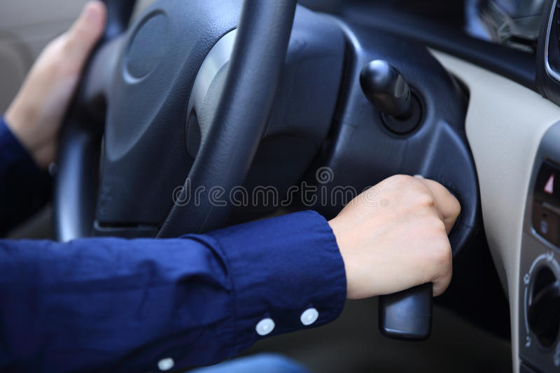 People starting the car. Before driving stock photos