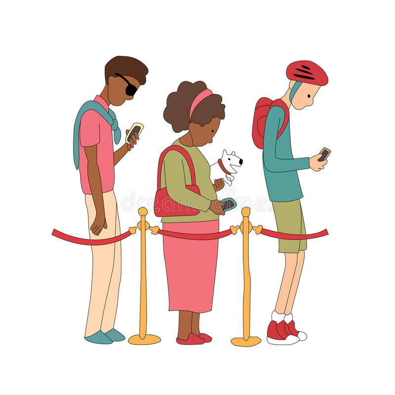 Free People Stay In Line And Watching Their Mobile Phone. Illustration In Vector. Stock Photos - 67046003