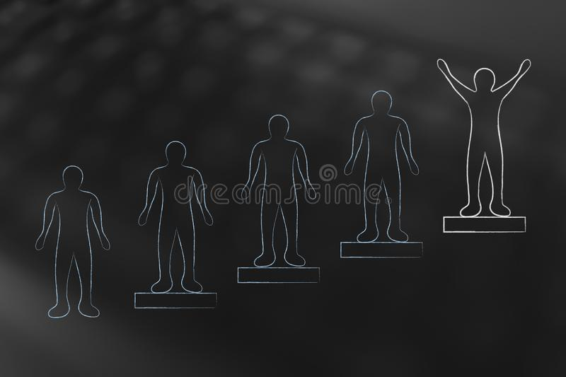 People on steps and person on the highest position with happy at royalty free illustration