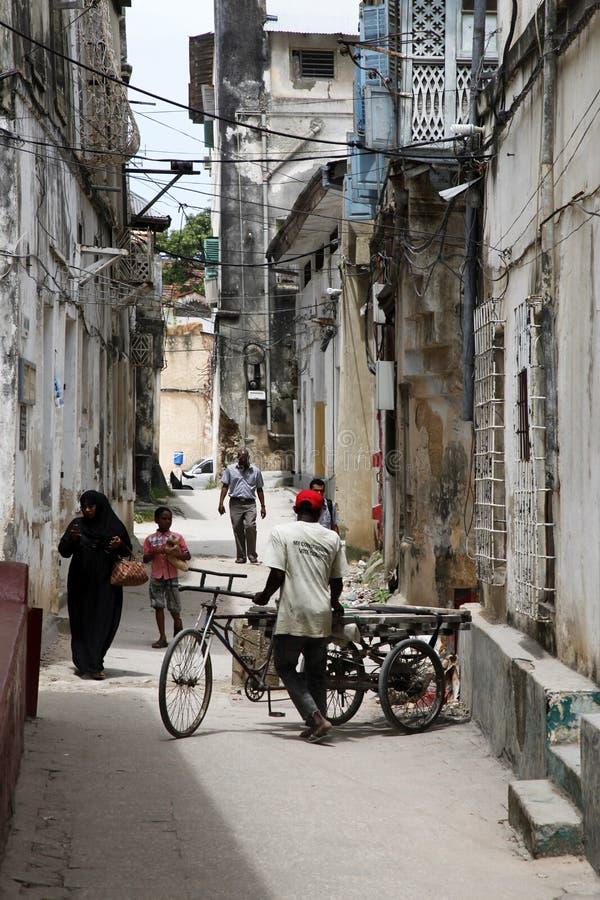 People in Stone Town. Zanzibar royalty free stock image
