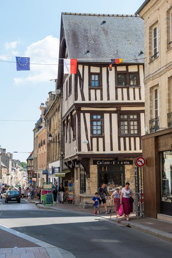People on the street of an medieval city Bayeux . Calvados department, Normandy, France stock photo