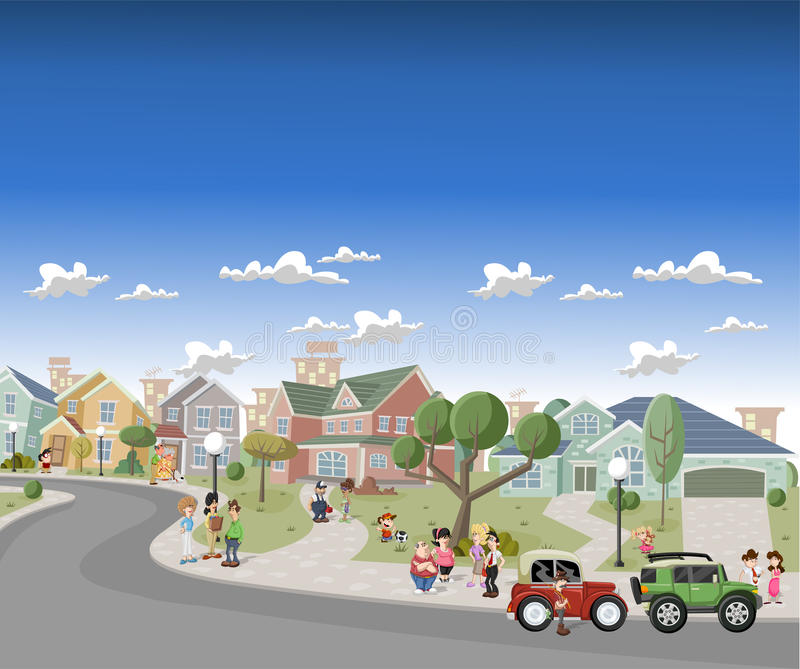 Download People In The Street Of A Retro Suburb Stock Illustration - Image: 26660306