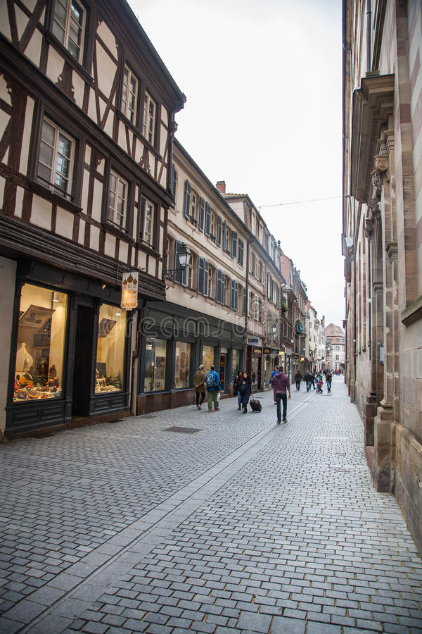 People in the streets of Strasbourg,France royalty free stock photos