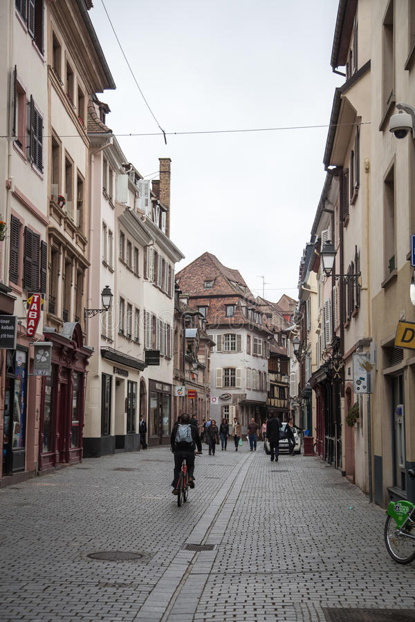 People in the streets of Strasbourg,France stock images