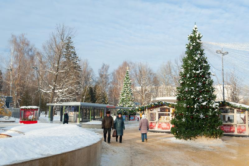 People strolling in Lianozovo park 09.01.2019 stock image