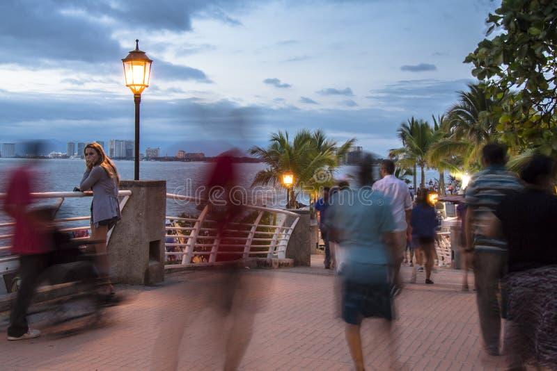 People strolling in Puerto Vallarta stock photo