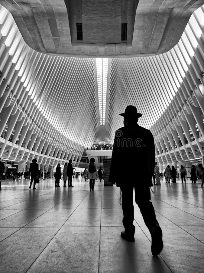 People strolling in World Trade Center in Manhattan stock photo