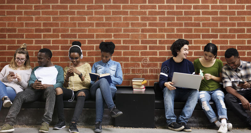 People Students Friendship Togetherness Technology stock image