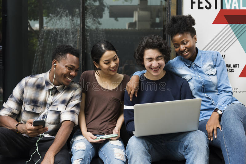 People Students Friendship Togetherness Technology Concept royalty free stock photo