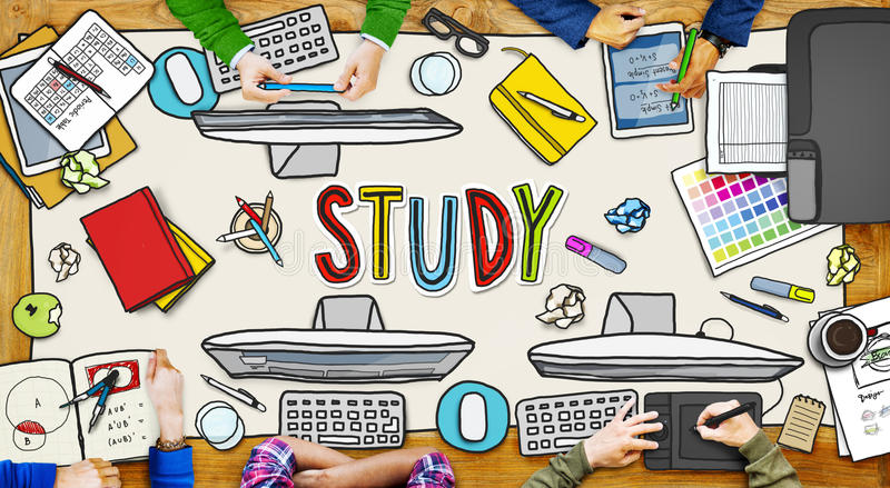People and Study Concept with Photo Illustrations stock illustration
