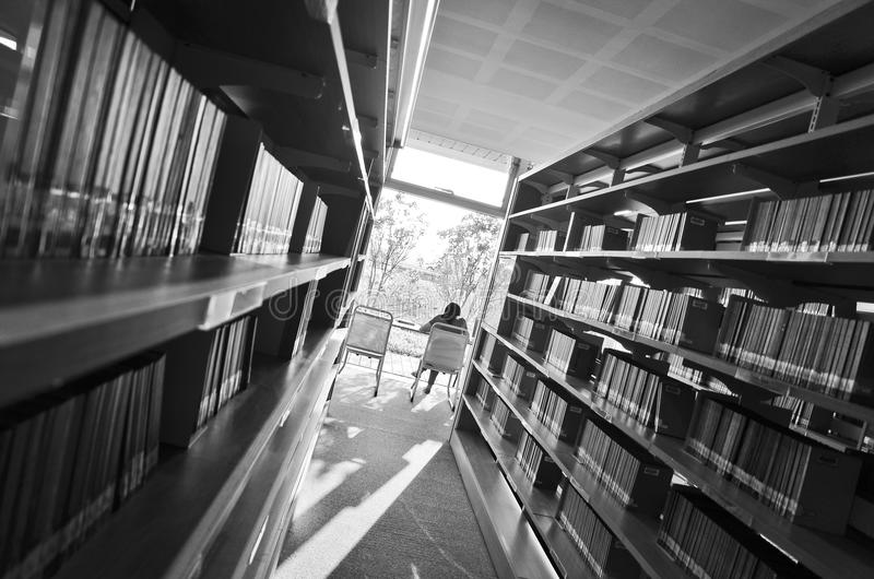 People studying in the library stock photography