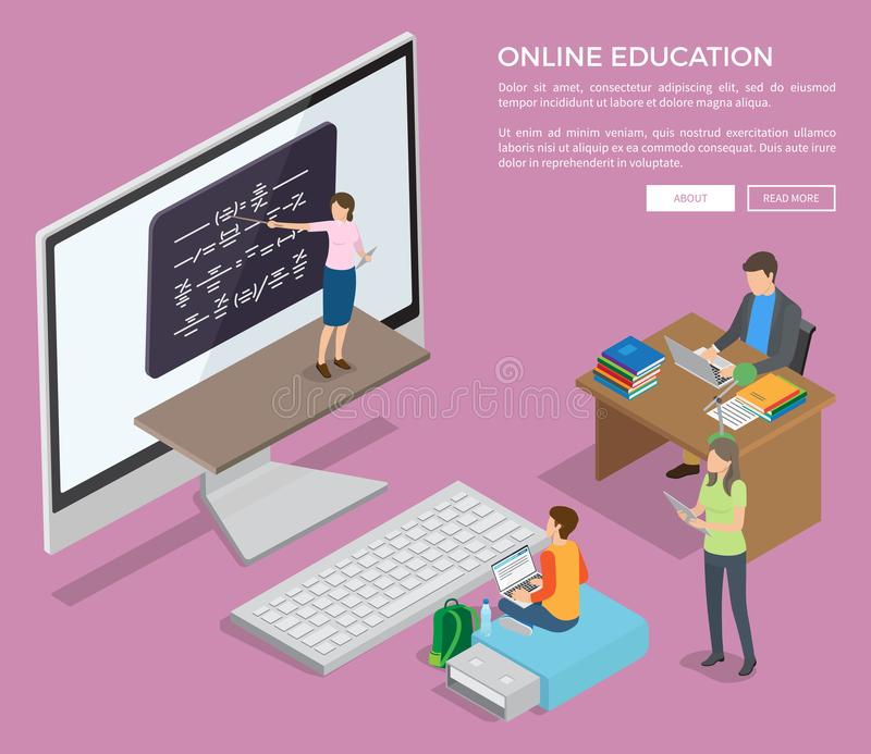 People Studying Online via Internet Vector Poster. People sitting at table or on flash drive study online via Internet with help of female teacher near stock illustration