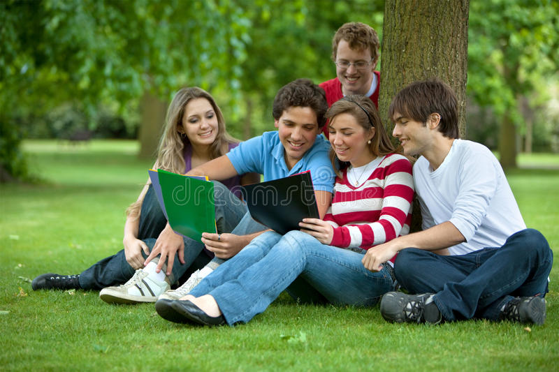 Download People studying outdoors stock photo. Image of lifestyle - 12000482