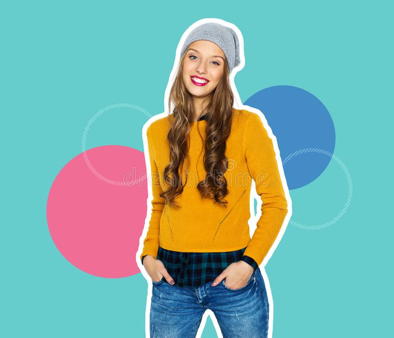 Happy teenage girl in casual clothes royalty free stock photos