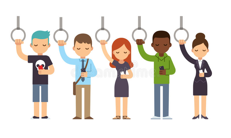 People on subway. Diverse people on subway commute looking at smartphones. Vector illustration in simple flat style royalty free illustration