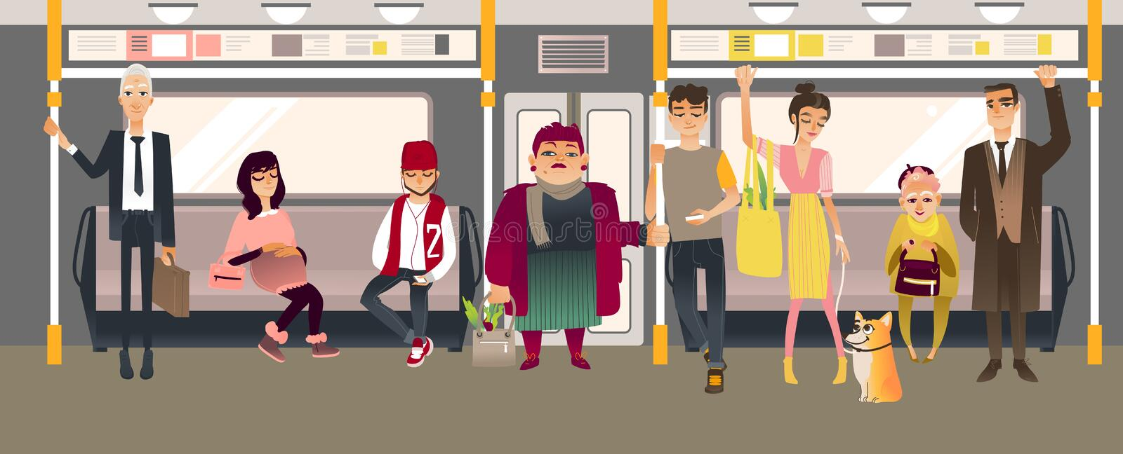People in subway inside train sitting, standing and holding on to handrails while riding in underground rail car. Cartoon vector illustration of men and women stock illustration