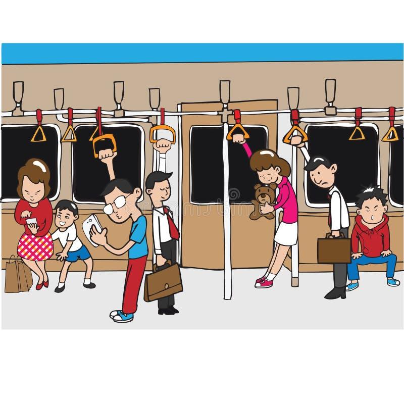 People on subway. Mass transportation stock illustration