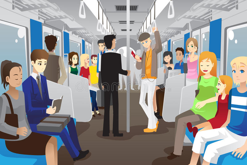 People in subway train. A vector illustration of people inside a subway train vector illustration
