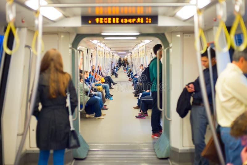 People subway train Bucharest, Romania stock image