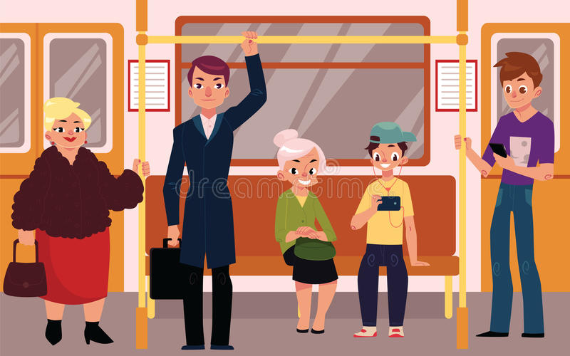 People in subway train car, sitting, standing and holding handrails. People in subway train car, sitting on seats, standing and holding handrails, cartoon vector stock illustration