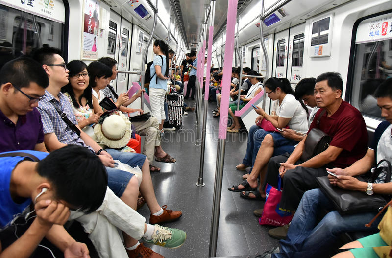 People in subway train royalty free stock photo