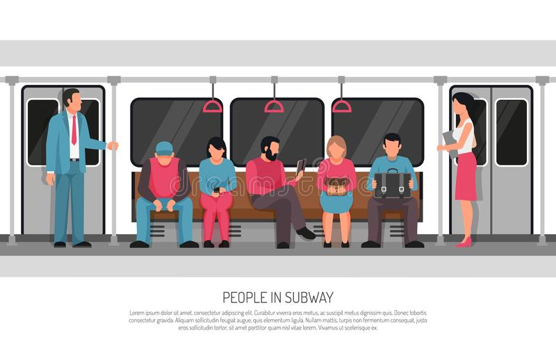 People Subway Transport Poster stock illustration