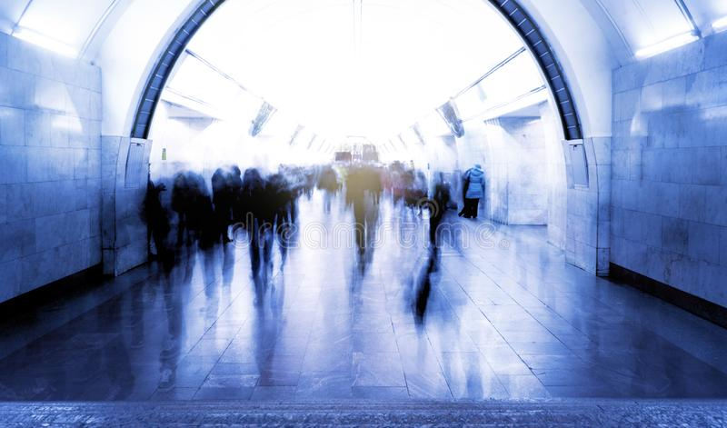 People in the subway will laugh at work, business people go, blurred background royalty free stock photography