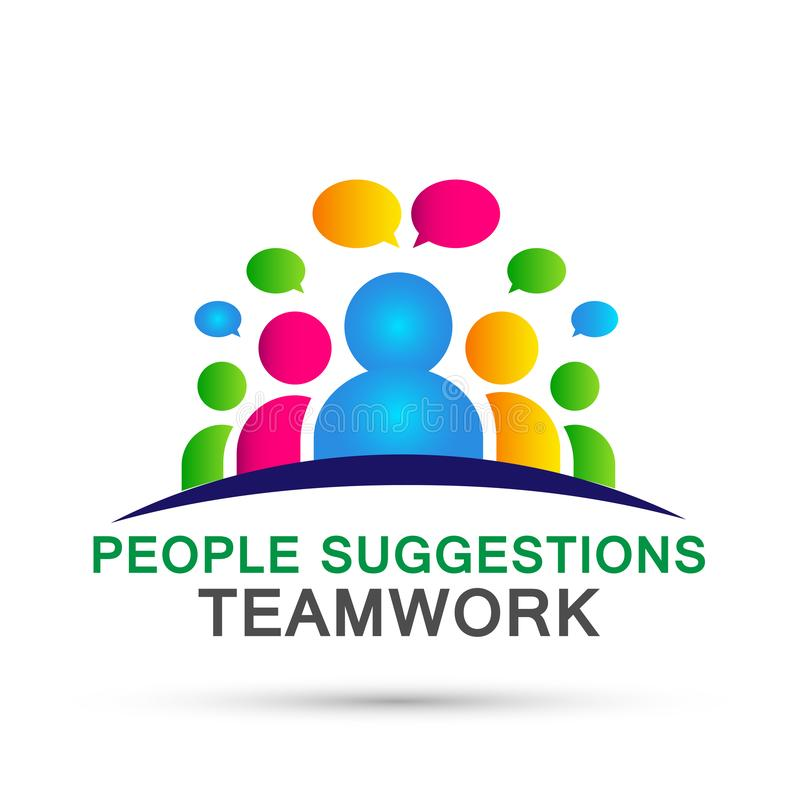 People suggestions team work logo partnership education celebration group work people icon vector designs on white background. For company or any type design stock illustration