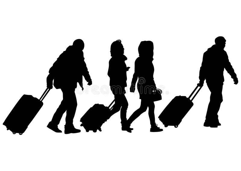 People and suitcases two royalty free illustration