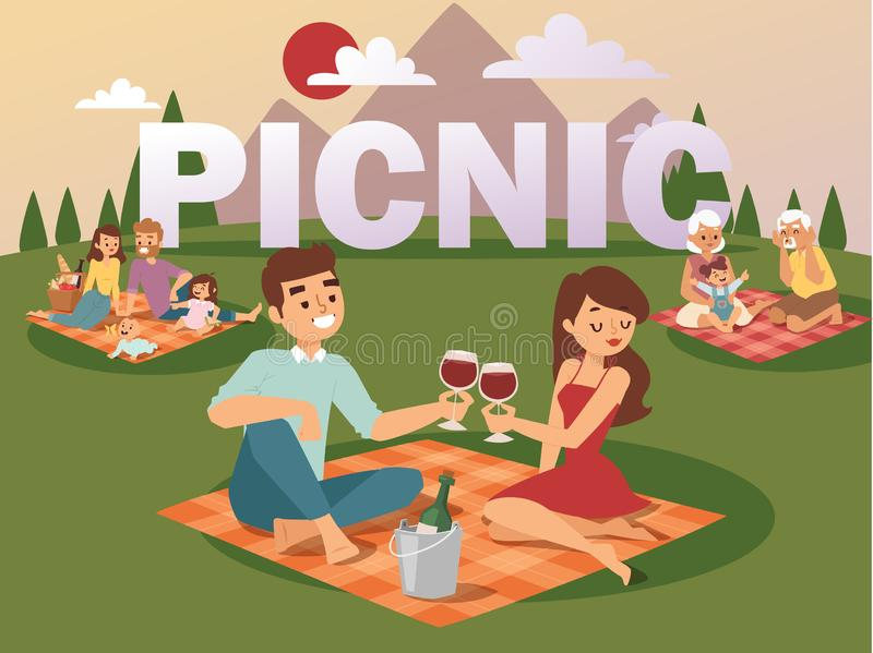People on summer picnic vector illustration. Young family with children, romantic couple on date, grandparents playing vector illustration