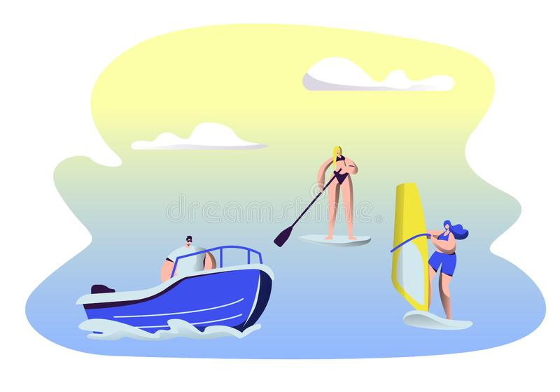 People Summertime Water Sport Activity. Surfing royalty free illustration