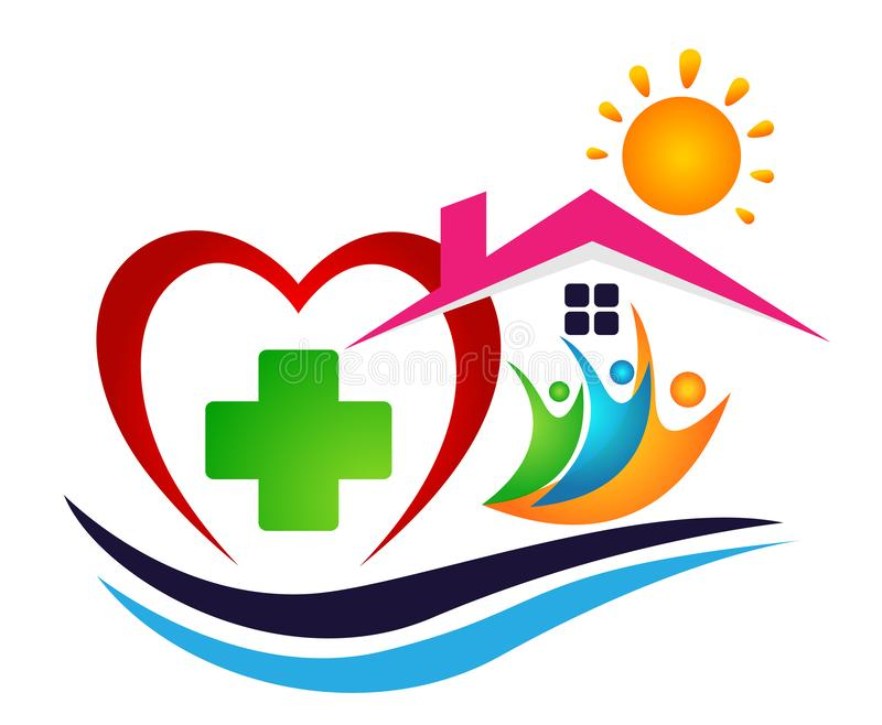People sun sea wave home heart medical logo icon winning people union together team work success wellness summer symbol icon royalty free illustration