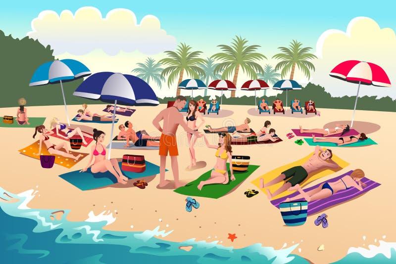 People sunbathing on the beach royalty free illustration