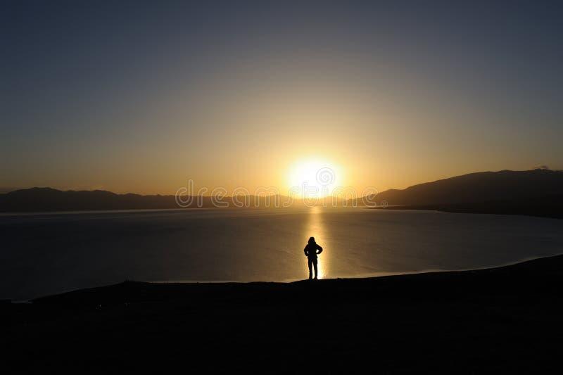 People at sunrise royalty free stock image