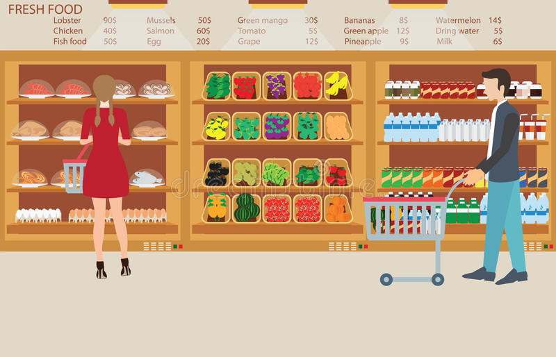 People in supermarket grocery store with fresh food. royalty free illustration