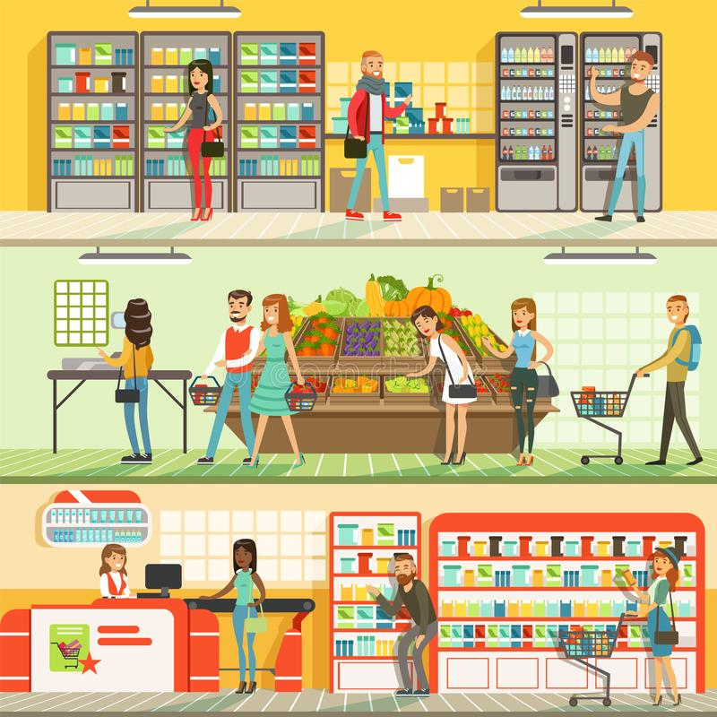 People in supermarket horizontal colorful banners set, customers shopping and buying products royalty free illustration