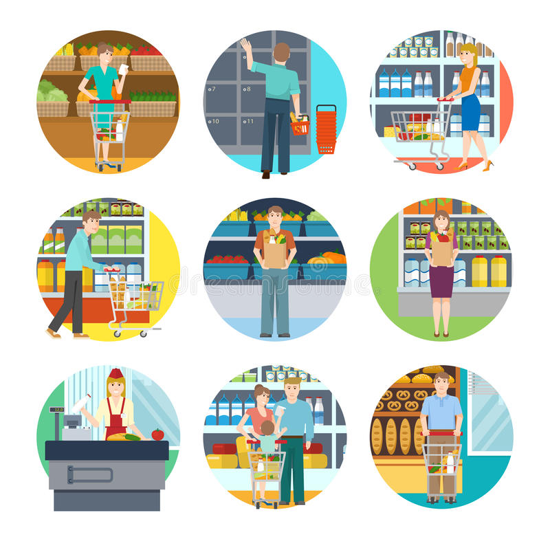 People In Supermarket Icons stock illustration