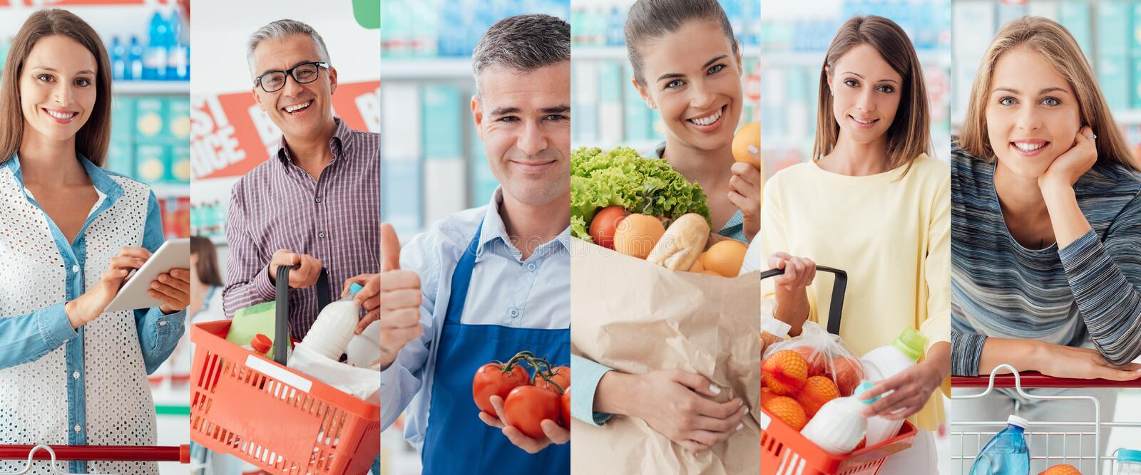 People at the supermarket stock photography