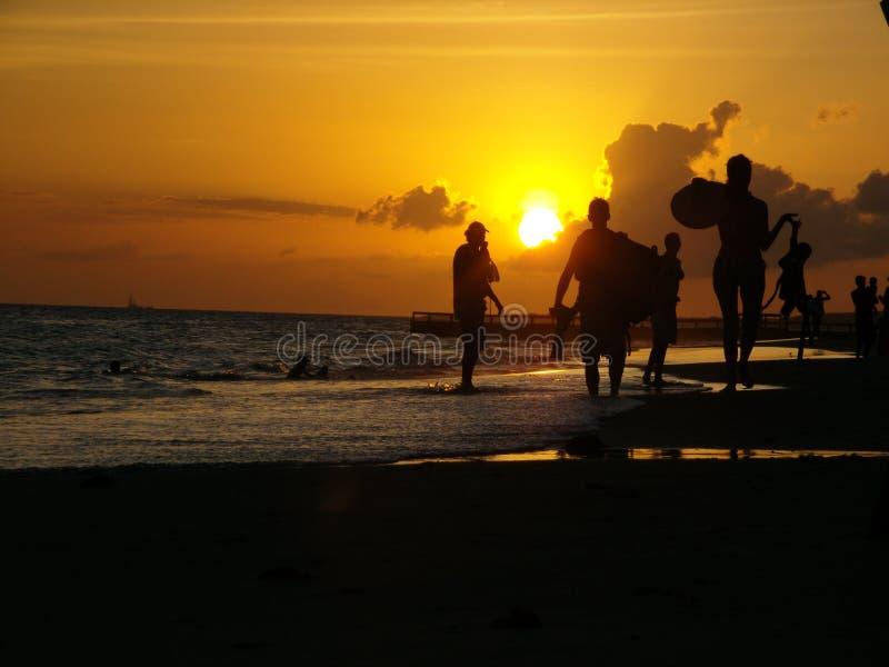 Venezuelan sunset on the coast of Margarita Island stock photography