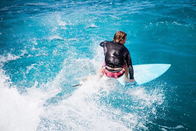 Surfing in Hawaii royalty free stock photo