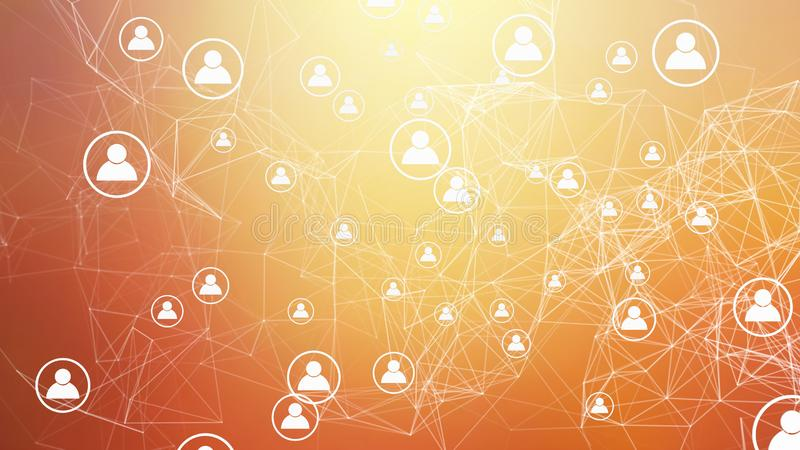 People symbol and network connection lines on orange background in social media and digital computer technology community concept. Abstract icons or sign vector illustration