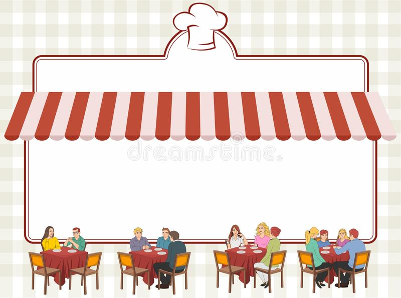 People on tables. Red restaurant menu with people on tables royalty free illustration