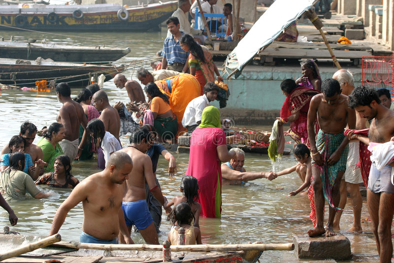 Download People Take A Dip In Holy River Ganges Editorial Stock Image - Image: 8342234