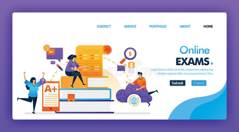 People take online exam concept design for landing pages. flat cartoon character take exam and get A + results with a internet or. Cloud storage. can use for royalty free illustration