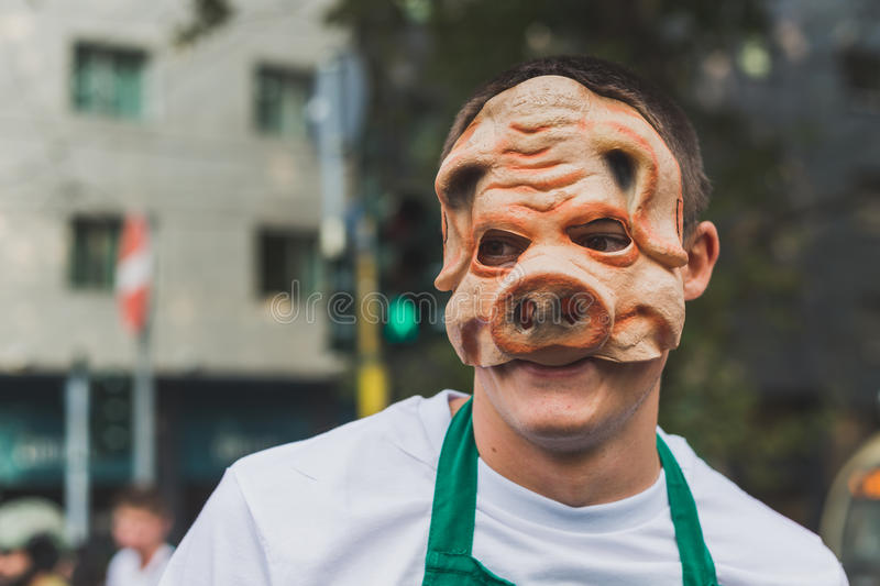 People take part in the Zombie Walk 2015 in Milan, Italy royalty free stock photography