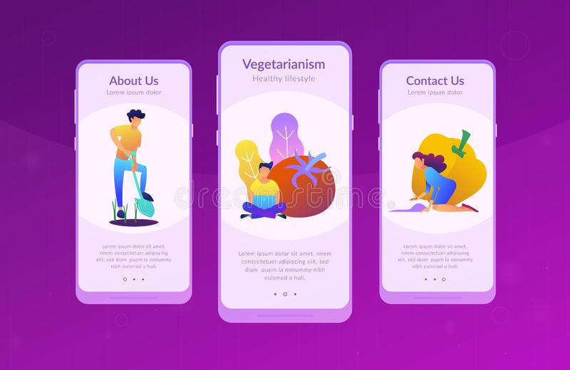 Healthy lifestyle UI UX app interface template. People taking care of vegetables. Healthy lifestyle landing page. Vegetarianism, vegetarian diet, meat royalty free illustration