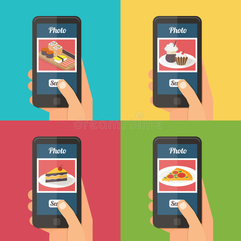 People taking photo of their food stock illustration