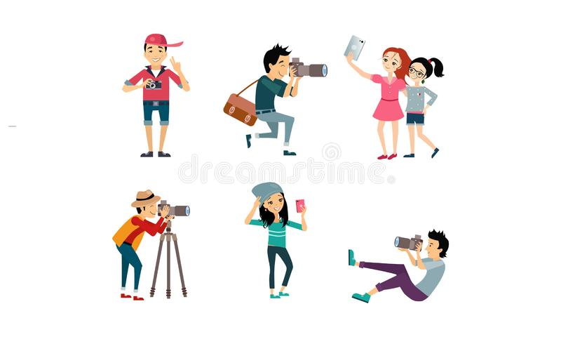 People taking photos set, model posing while photographer photographing, girls doing selfie vector Illustration on a vector illustration