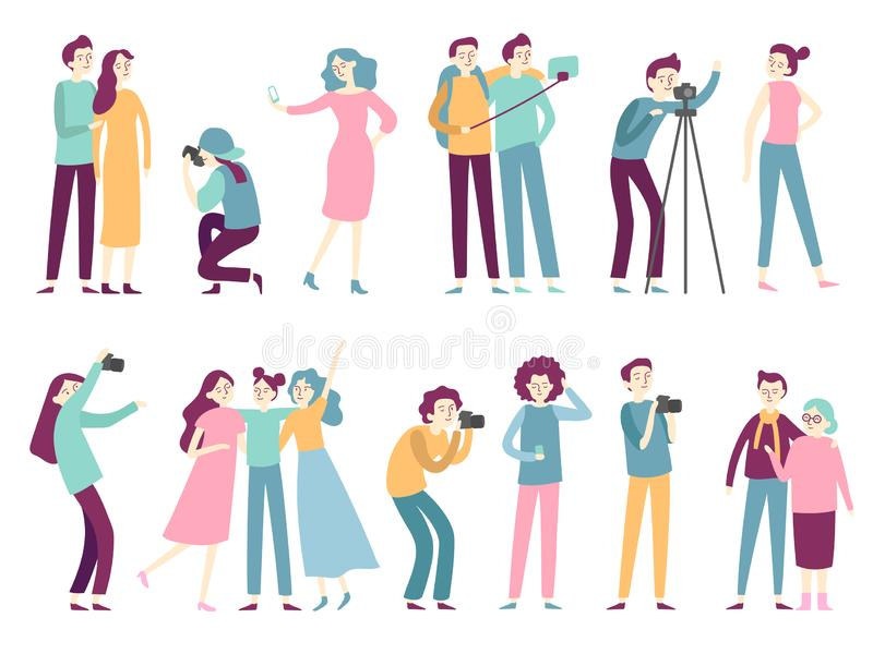 People taking photos. Woman takes selfie pictures, posing for professional photographer and man holding photo camera stock illustration