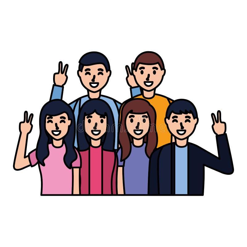 People taking selfie. Posing gesture vector illustration royalty free illustration